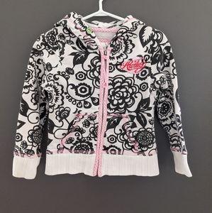 Hurley black & white floral print zip up hoodie